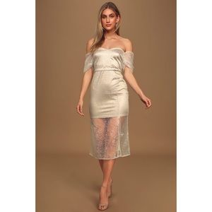 NWT Ivory Glitter Mesh Off-The-Shoulder Midi Dress